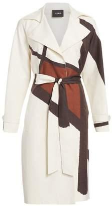Akris Eevee Silk-Blend Line & Dot Belted Coat
