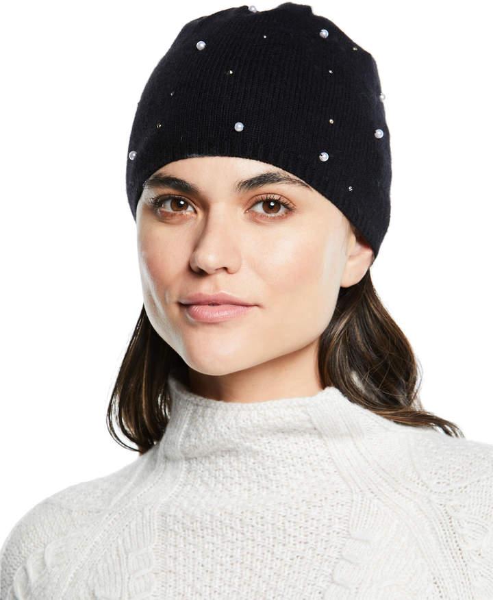 Portolano Cashmere Pearl Jersey Beanie Hat