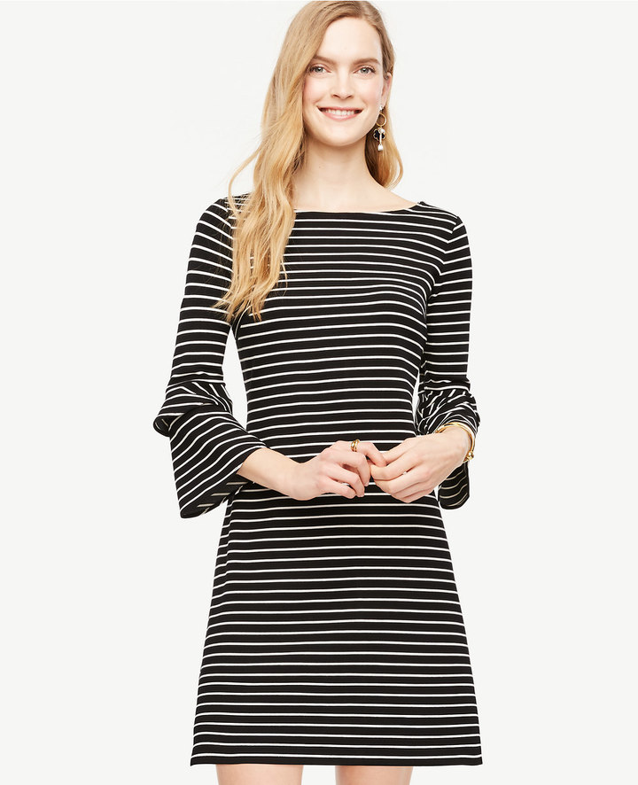 Striped Ponte Flare Sleeve Dress