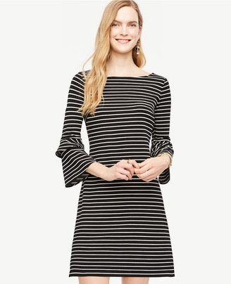 Striped Ponte Flare Sleeve Dress $129 thestylecure.com