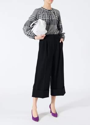 Tibi Anson Stretch Cuffed Wide-Leg Tuxedo Pants