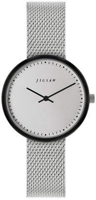 Jigsaw Ladies Watch, Round Black Ip Case, Silver Tone Dial, Stainless Steel Mesh Bracelet