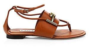 Tod's Women's Double-T Leather Thong Sandals