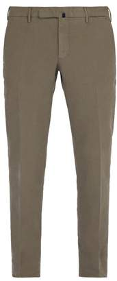 Incotex Slim Leg Cotton Blend Trousers - Mens - Grey