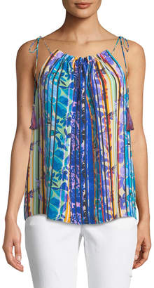 Laundry by Shelli Segal Floral-Striped Sleeveless Blouse