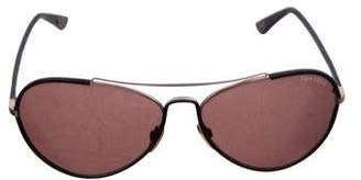 Tom Ford Shelby Leather-Trimmed Aviator Sunglasses