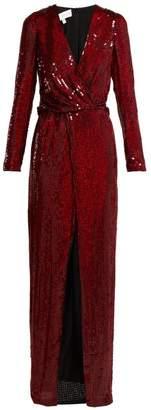 Galvan - Vera Sequinned Silk Gown - Womens - Red