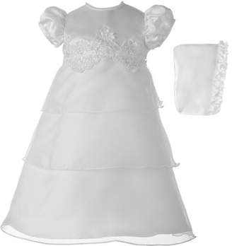 lauren-madison Christening Baptism Newborn Baby Girl Special Occasion Organza Multi-Tiered Dress