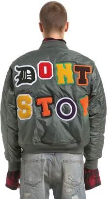 Nylon Bomber Jacket W/ Shirt Details