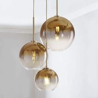 west elm Sculptural Glass Globe 3-Light Chandelier - Mixed (Metallic Ombre)
