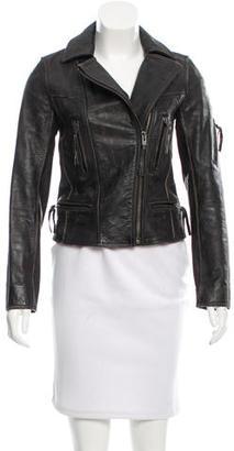 AllSaints Aged Leather Jacket $225 thestylecure.com
