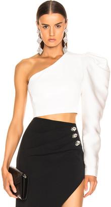 David Koma Gigot Sleeve Crop Top in White | FWRD