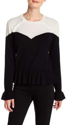 Minnie Rose Colorblock Corset Cashmere Sweater
