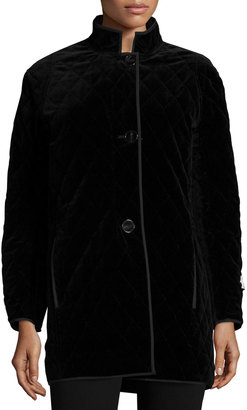 Jane Post Quilted Velvet Raincoat, Black $247 thestylecure.com