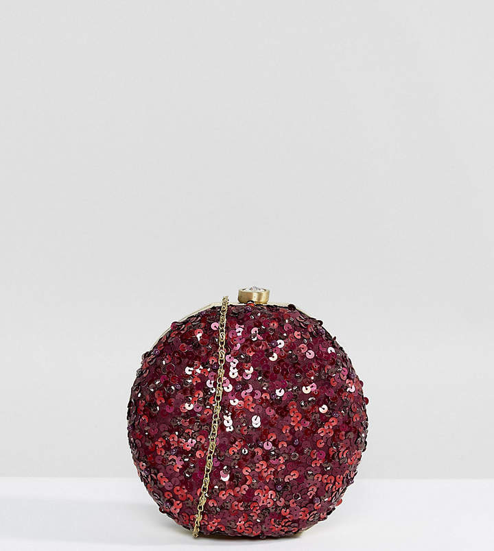Maya All Over Sequin Circular Clutch Bag