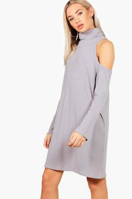boohoo Lacey Cold Shoulder Knitted Rib Dress