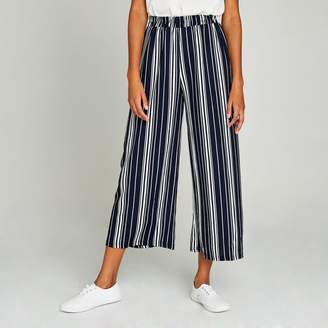 Apricot Navy Random Spaced Stripes Culottes