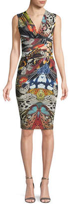 Roberto Cavalli Sleeveless V-Neck Butterfly-Print Ruched Dress w/ Ring-Detail