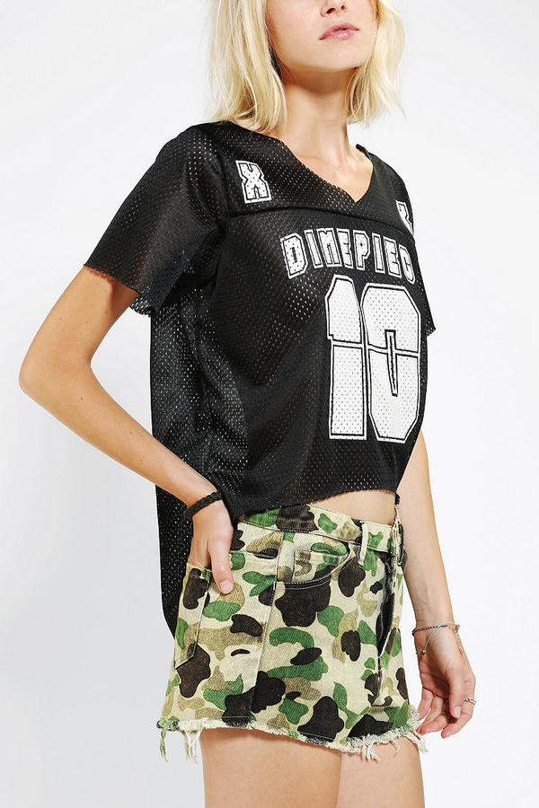 Urban Outfitters DimePiece Mesh Cropped Jersey Top