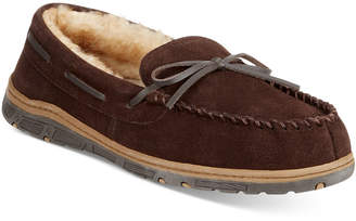 Rockport Suede Moccasin Slippers With Faux-Fur Lining $75 thestylecure.com