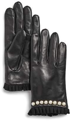 Echo Embellished Pleated-Trim Leather Gloves