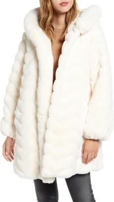 Gallery Faux Fur Hooded Swing Coat