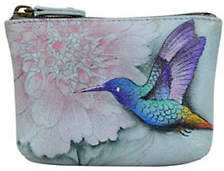 Anuschka Bird and Floral Leather Coin Pouch
