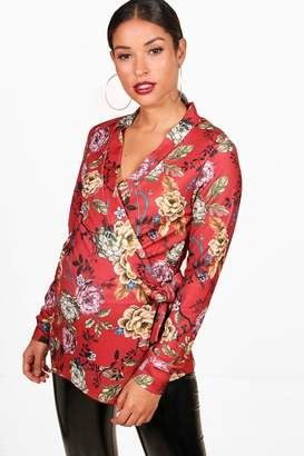 boohoo Maternity Charlie Wrap Front Oriental Blazer Top
