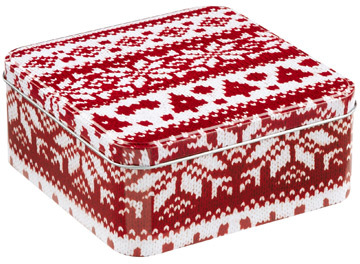 Container Store Small Square Tin Sweater Red/White