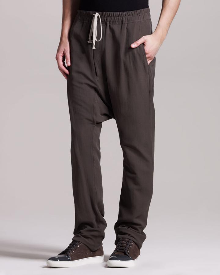 Rick Owens Silk Drop-Crotch Pants, Dark Dust