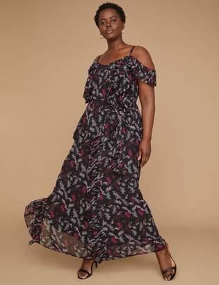Lane Bryant Cold-Shoulder Pleated Ruffle Maxi Dress