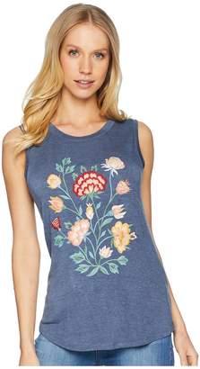 Miss Me Lace Back Flower Sleeveless Top Women's Sleeveless