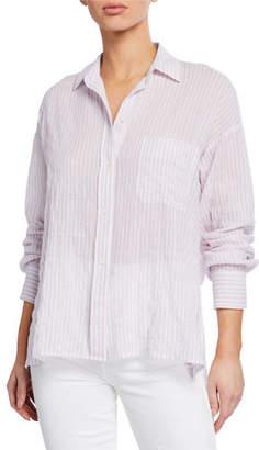 Vince Double Bar Stripe Button-Down Long-Sleeve Boxy Shirt