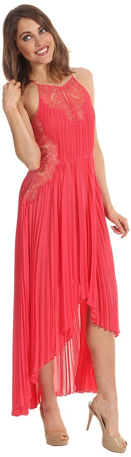 BCBGMAXAZRIA Maryella Pleated High-Low Dress (Deep Coral Reef Combo) - Apparel