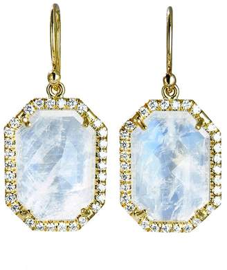 Irene Neuwirth Hexagonal Rose Cut Rainbow Moonstone Earrings