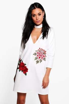 boohoo Embroidered Choker Shift Dress