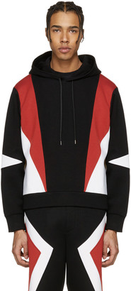 Neil Barrett Black Panelled Modernist Retro Hoodie $680 thestylecure.com