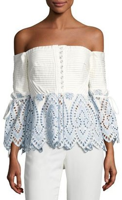 Self-Portrait Off-the-Shoulder Broderie Top, Blue $375 thestylecure.com