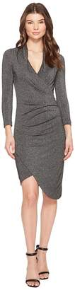 Nicole Miller Silver Glitz V-Neck Asymmetrical Dress Women's Dress