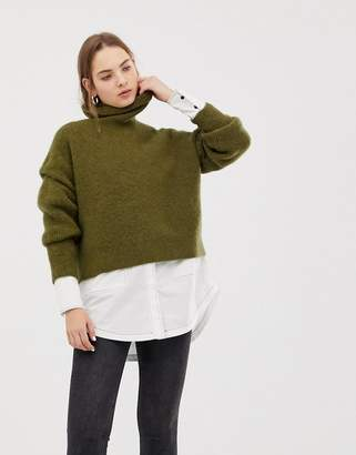 Weekday roll neck knitted sweater in khaki
