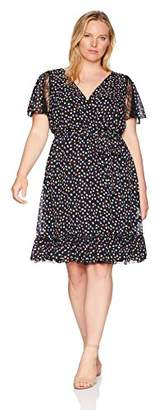 Sangria Women's Plus Size Lace Trim Fit and Flare Dress