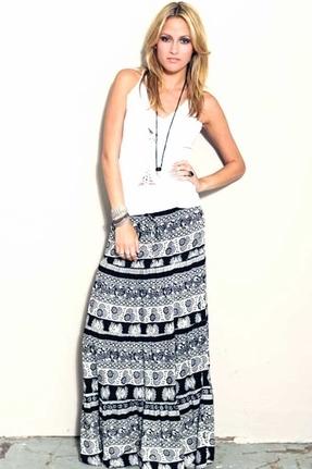 Blu Moon Cantina Diva Skirt in Black & White