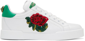 Dolce & Gabbana White Embroidered Floral Sneakers $745 thestylecure.com