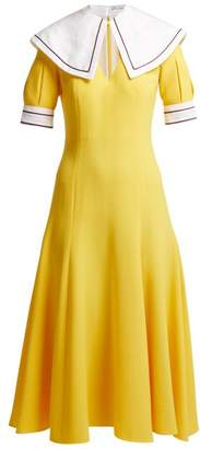 Emilia Wickstead Sabine Short Sleeved Wool Crepe Midi Dress - Womens - Yellow