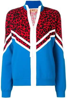 No.21 leopard-print zipped sweatshirt
