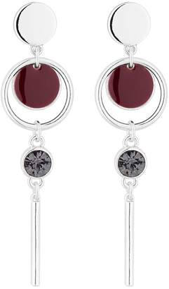 J by Jasper Conran Silver And Red Disc Drop Earrings