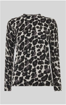 Whistles Leopard Print Crew Neck Knit