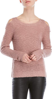 Pink Rose Cutout Sleeve Sweater