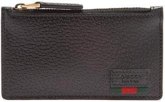 Gucci Web-trim grained-leather cardholder