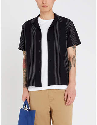Sandro Relaxed-fit striped short sleeve crepe shirt